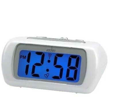 Acctim Auric Battery Operated  White  Alarm Clock With Light And Snooze  12342