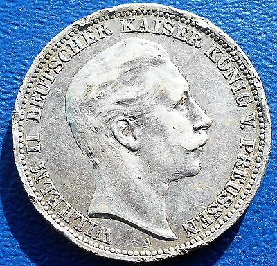 .900 Silver 1908-A German States PRUSSIA 3 Mark KM#527 Wilhelm II Rim Dings #704