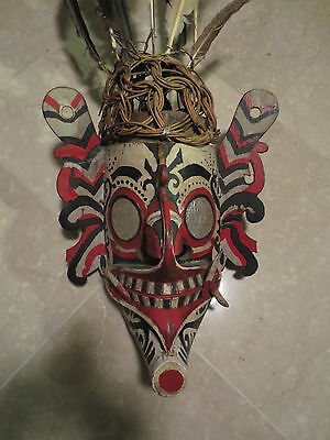 Important Udoq Mask With Feathers-Dyak Kenyah-Kayan(Head Hunters)