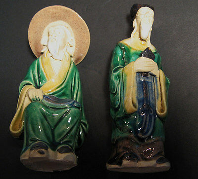 """Vintage 2 Chinese Pottery Mud Men Figures 5"""" Ancient Worthy Bearded China"""