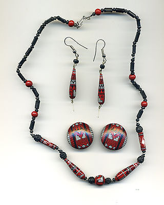 Peru Andes Necklace & Earrings Set: Handpainted ceramic in red and grey