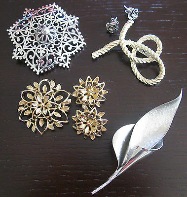 Assorted Brooches & Earrings- Vendome-Bond Boyd--Sterling