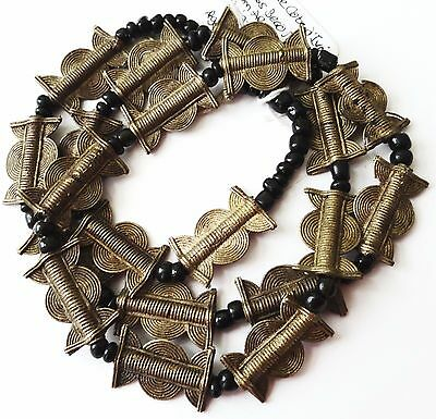 1 African Brass Bead Necklace, Baule Cote d'Ivoire, Bd. Sz. 15-18mm, Length: 30""