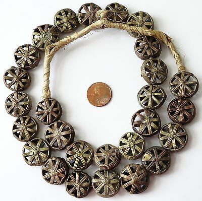 1 Nice Strand African Coin Shaped Brass Beads,  Bead Sz. 20x7mm, Length: 27""