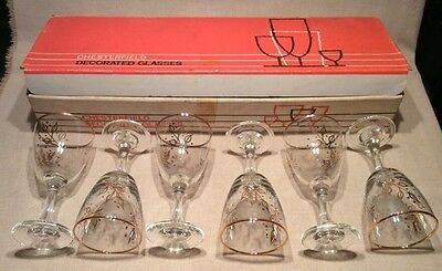 Six vintage 'Chesterfield' decorated port or Sherry glasses in original box.