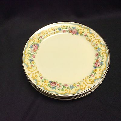 S/4 Taylor Smith Taylor 623 Bread & Butter Plates Blue Yellow Scrolls Flowers