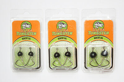 Ultra Tungsten Wacky Jig 1/8, 3/16, 1/4oz. - NEW - Three Packs - Fishing Lures