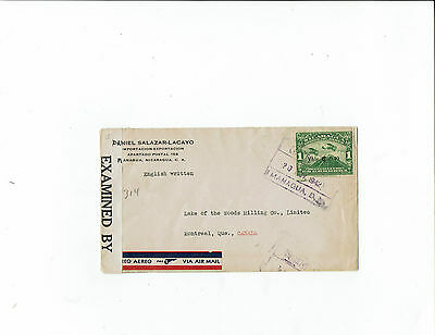 1942 Nicaragua commercial censor air mail cover, Nicaragua Air Mail stamp