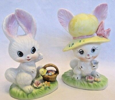Pair of Vintage Easter Bunny Figurines - Boy and Girl - Ceramic