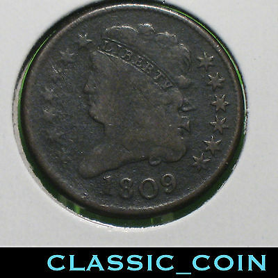 1809 Classic Head Half Cent 207 Years Old Fla.metal Detector Find Free Shipping