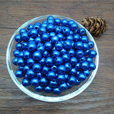 Hot  4 mm  Blue Acrylic Round Pearl Spacer Loose Beads Jewelry Making DIY MT12