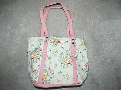 Longaberger Homestead Floral Print Small Tote Bag Lunch Pink Green Spring
