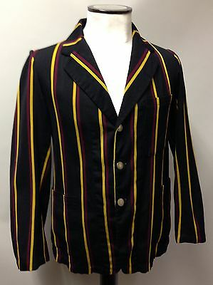 "1930s Vintage Striped Boating Blazer College Derby Black Yellow Red 38"" Reg"
