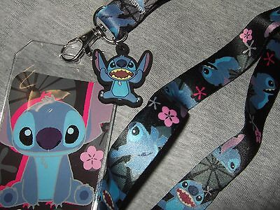 Disney Lilo And Stitch Space Alien Dog Flower ID Card Badge Holder Lanyard charm