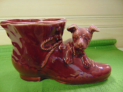 Staffordshire Terrier Puppy Dog Boot Planter or Vase Art Pottery