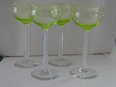 Antique green wine glasses