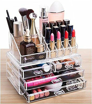Beautify Extra Large 6 Tier Clear Acrylic Cosmetic Makeup Cube Organizer Jewelry