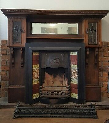 Fireplace - timber mantle, tiled surround, iron fender, complete for pick up