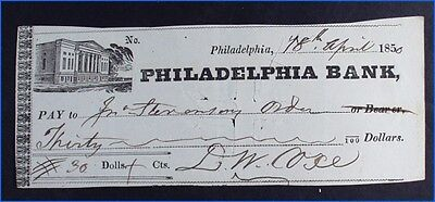 Vintage 1850 Philadelphia Bank Check With Illustration, $30, Signed Cope