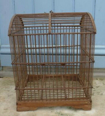 Charming Rare Large Antique Vintage Early 1900s French Wood Birdcage