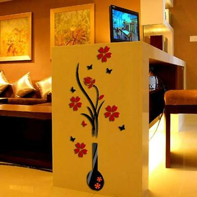 New Retro DIY Vase Flower Tree Crystal Arcylic 3D Wall Stickers Decal Home Decor
