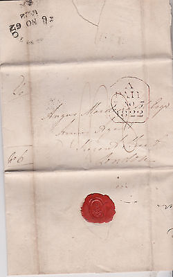 1822 BRIGHTON PRE-STAMP LETTER TO ANGUS MACDONALD ARMY AGENT IN LONDON RATED 8d