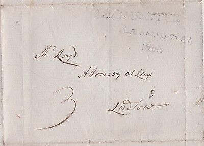 1800 LEOMINSTER LINE CANCEL ON PRE-STAMP WRAPPER RATED 3d TO LUDLOW