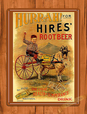 "TIN-UPS TIN SIGN ""Hurrah Hires"" Root Beer Soda Advertising Rustic Wall Decor"