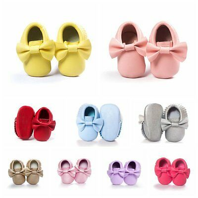 Cute Toddler Baby Boy Girl Crib Moccasin Shoes Kids Soft Soled Leather Shoes UK