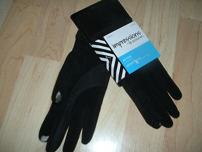 ISOTONER Impressions Smartouch Womens Lycra Gloves Black One SIZE