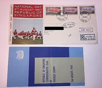 Vintage Postage Stamps Singapore National Day 1967 With Brochure 60's Mail