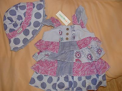 New NAARTJIE KIDS Blue Floral Dress and hat set 3-6 Months Girl baby