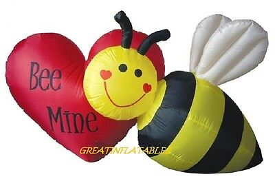 Valentines Day Inflatable 7' Wide Bumble Bee W/ Bee Mine Heart Decoration