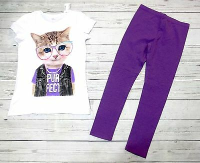 Tcp Girls Size 7/8 Short Sleeve Cat With Glasses Matching Leggings New With Tags