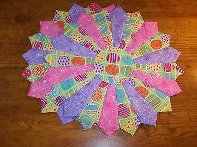 """Handmade Quilted (Set of 2) Easter Glitter Eggs Table Toppers, Placemats, 12"""""""