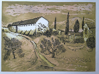 Original printing print illegibly signed by French artist landscape AP circa 60s