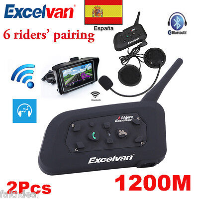 2x1200M 6 Rider Bluetooth Intercomunicador Interphone Auriculares Interfono Moto