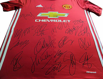 16/17 Team Signed Manchester United Home Soccer Football Shirt Ibrahimovic + Coa
