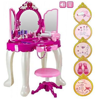 Girls Glamour Mirror Makeup Dressing Table Stool Playset Toy Vanity Light Music