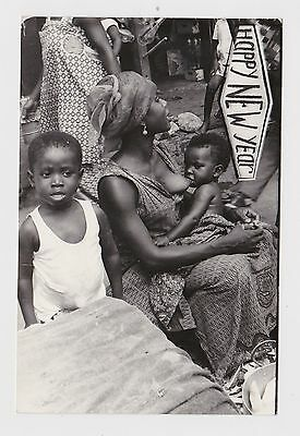 Superb Old Real Photo Card Young Woman Breastfeeding Africa Ethnic Around 1960