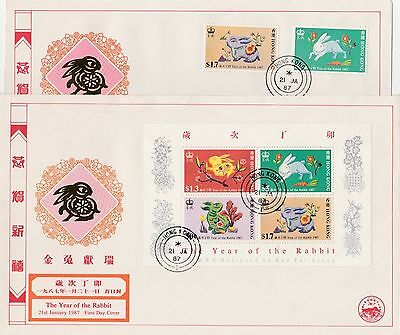 China Hong Kong 1987 Year Of Rabbit Zodiac Stamp & S/S CPA FDC First Day Cover