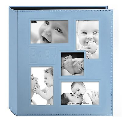 """Pioneer Collage Frame Embossed """"Baby"""" Sewn Leatherette Cover Photo Album 4""""x6..."""