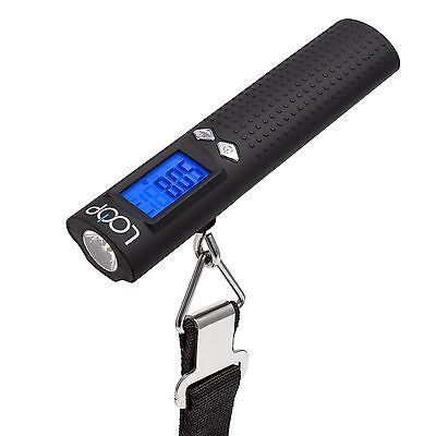 LOOP Luggage Scale w/ Digital Display Power Bank LED Flashlight & Thermometer