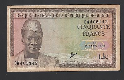 Guinea 50 Francs  1960  VG-F  P. 12, Banknotes, Circulated