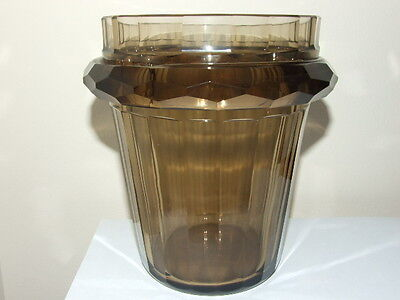 Art Deco Bohemian Moser Hand Cut Smoky Brown Glass Vase