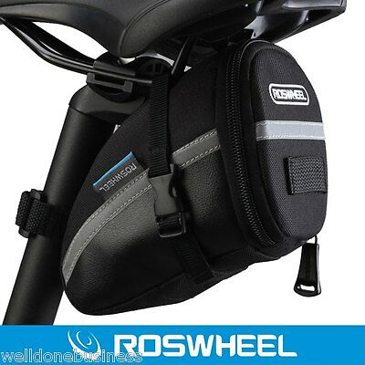 Roswheel Outdoor Cycling Bike Saddle Bag Seat Tail Pouch with Strap Black