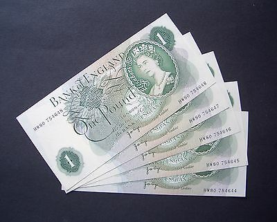 GB, Five consecutive numbered, Series C, One Pound Notes, 1970, Uncirculated