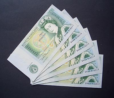 GB, Six consecutive numbered, Series D, One Pound Notes, 1978, Uncirculated