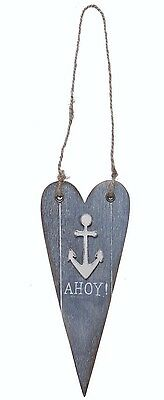 Nautical Blue Wooden HEART Ahoy Anchor Rustic Hanging Decoration Sass and Belle