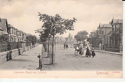 1912 SALTCOATS Caledonia Road and School - houses, people, lady with pram